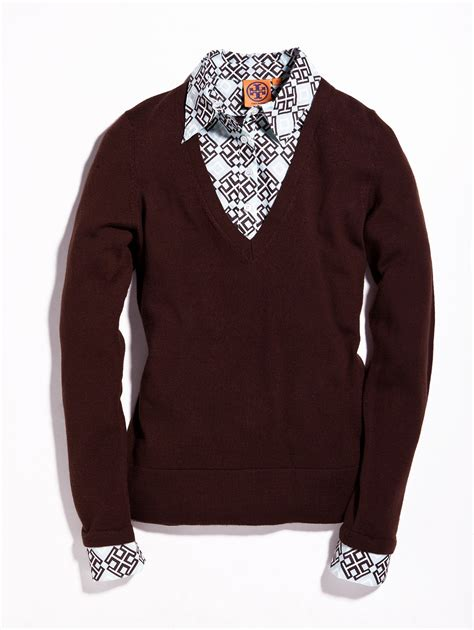 dickie sweater burch v neck dickie sweater in brown blue