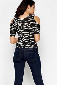 Pleated Zebra Print Top - Black/White - Just £5