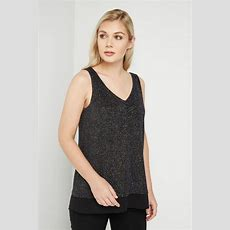 Double Layer Shimmer Cami In Black  Roman Originals Uk