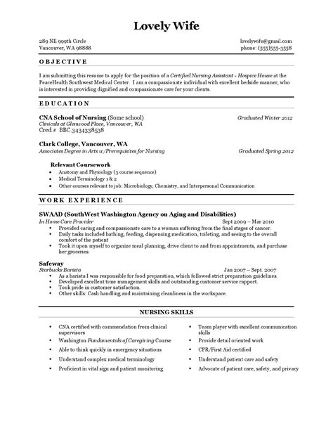resume for cna with experience nursing assistant