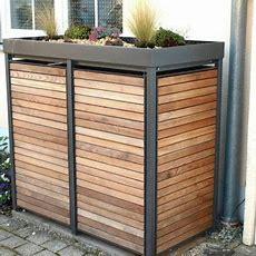Mülltonnenbox Alu Mit Lärche  Garten Ideen