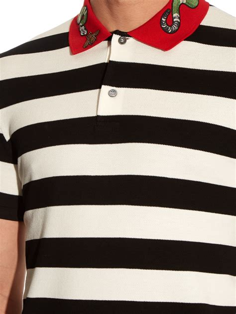 gucci snake applique cotton polo shirt  black  men lyst
