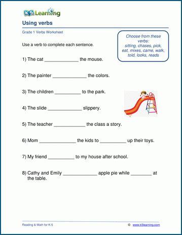 grade 1 verbs worksheets k5 learning