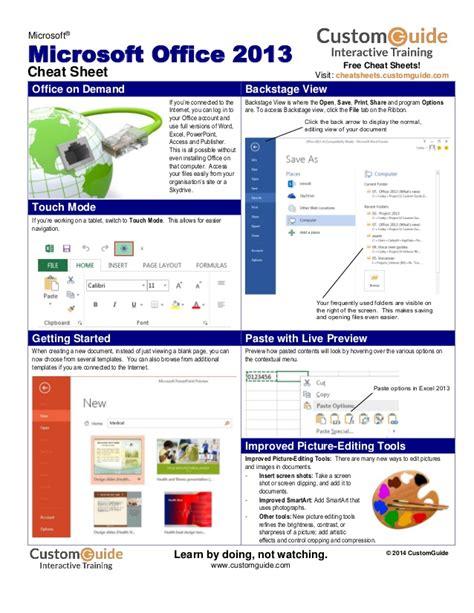 Office Cheats office 2013 sheet