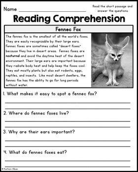 reading comprehension passages desert animals