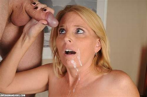 Fabulous Smiling Mature Gives #Um #On #The #Moms #Face #And #Tits