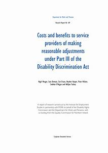 Pdf  Costs And Benefits To Service Providers Of Making Reasonable Adjustments Under Part Iii Of