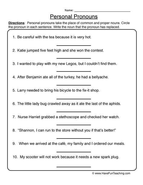 pronoun worksheets teaching
