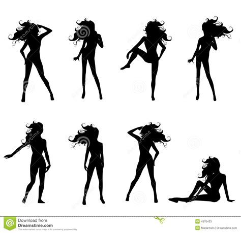 Poses Female Silhouettes Stock Vector Illustration Of