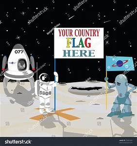 Astronaut Holding Flag In The Moon With Spaceship And ...
