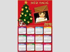 Calendário 2018 Cartão de Natal Montagem para Fotos