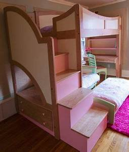 Handmade Girl39s Twin Loft Bunk Bed With Stairs Futon