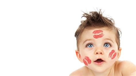 wallpaper cute child kisses cheeks white background