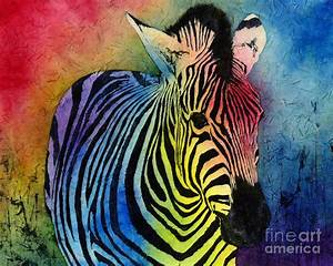 Rainbow Zebra Painting by Hailey E Herrera