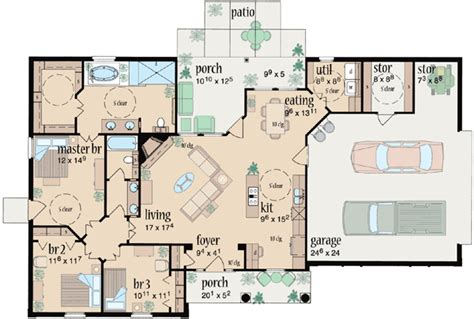 ranch style house plans  square foot home  story  bedroom   bath  garage stalls