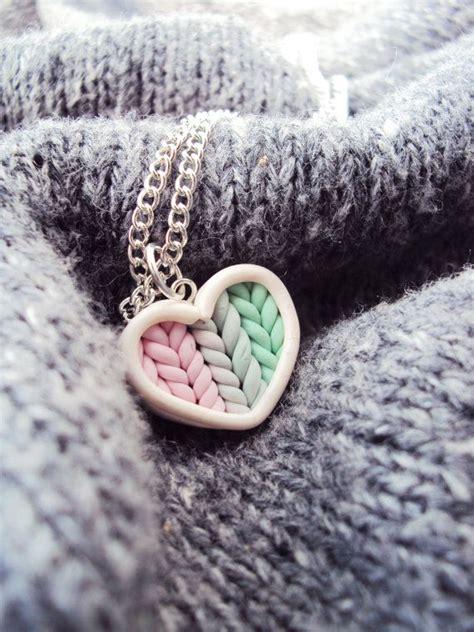 modele de pate fimo ombre de menthe tricot 233 coeur collier p 226 te fimo bijoux en argile miniatu бижута