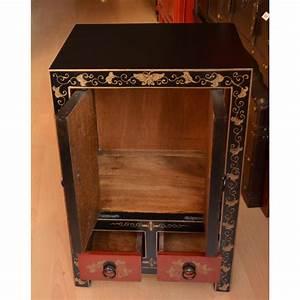 meuble laque noir rouge la malle d39asie With meuble noir laqu