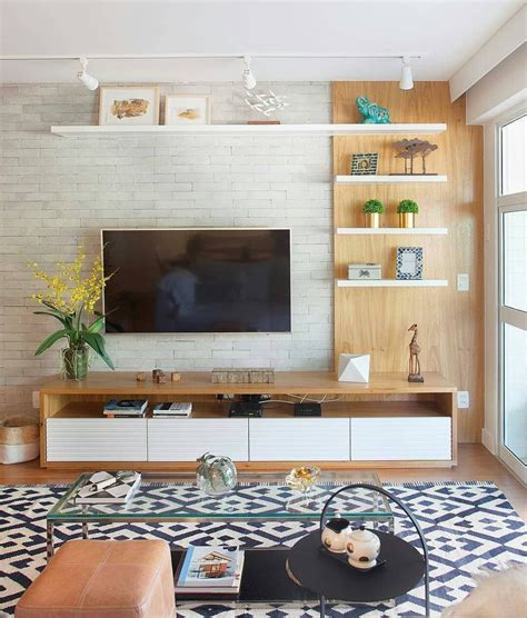 Hit the black box from all sides by hanging frames, flanking it with lamps, and adding bold. 36 Amazing TV Wall Design Ideas For Living Room Decor in 2020   Tv room decor, Living room tv ...