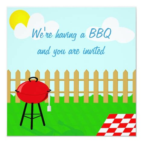fun cartoon summer bbq party invitation zazzlecouk