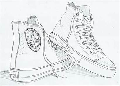 Converse Drawing Sketch Coloring Pages Shoe Sketches