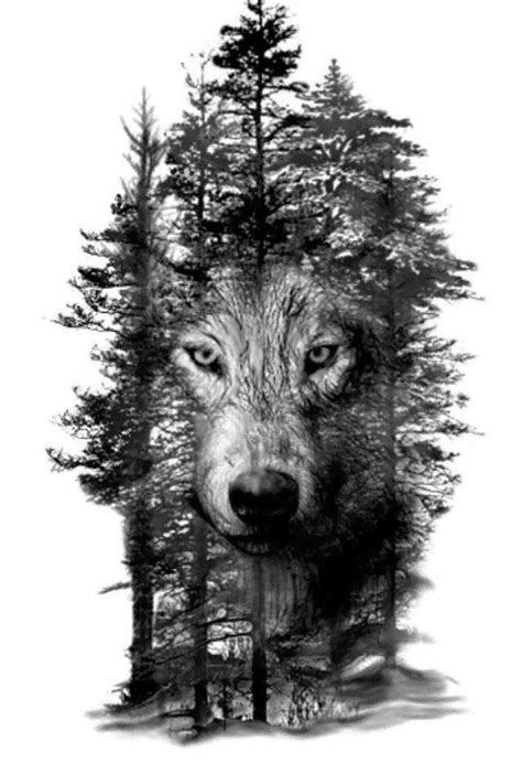 Wolf in Trees Laser Engraving Template Bitmap (.bmp