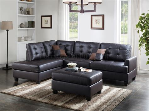 Loveseat And Ottoman by F6855 Sectional Sofa And Ottoman Set In Espresso Faux Leather