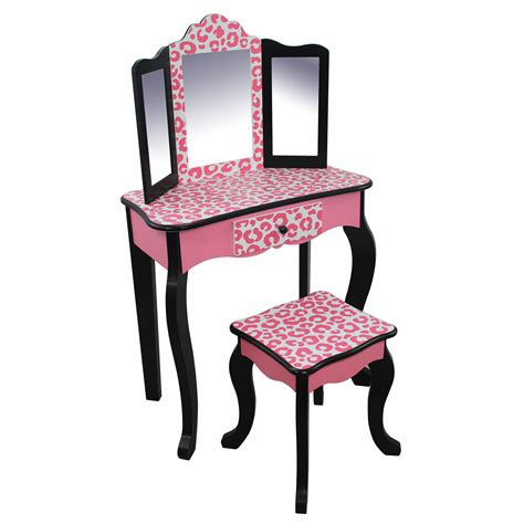 little girls makeup table teamson kids fashion prints vanity table stool set