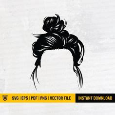 Messy bun clipart free download! 60 % OFF, Messy Bun svg, Girl with lashes Svg, Mom life ...