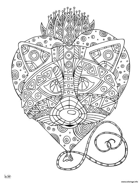 coloriage raccoon  tribal pattern adulte dessin