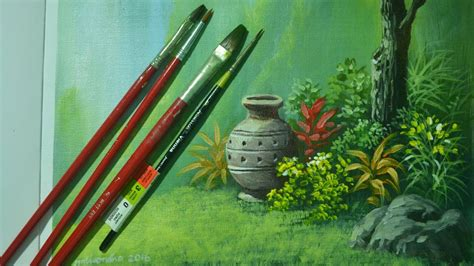 Acrylic Landscape Painting Lesson Vase In The Garden By
