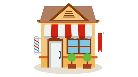 Shop Store Icon With Red And White Striped Awning With Smooth Wave Build Animation. Available In