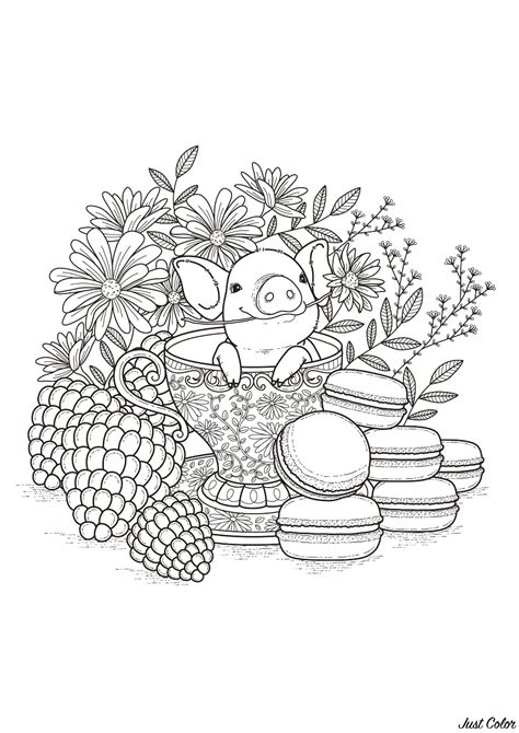 baby pork pigs adult coloring pages