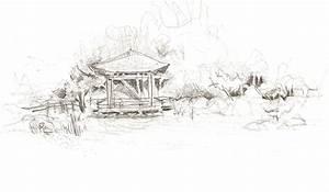 Japanese Garden Pencil Drawing Sketch Coloring