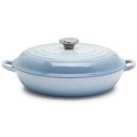 le creuset coastal blue shallow casserole pot 30cm 3 2l