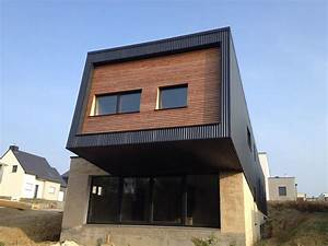 maison ossature bois bardage bac acier et claire voie With couleur facade maison contemporaine 10 maison en bois maison ossature bois bardage douglas