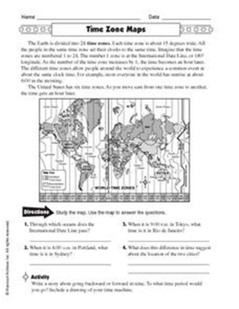 time zone maps 5th 6th grade worksheet lesson planet