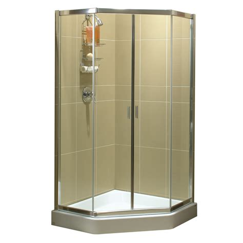 lowes frameless shower door shop maax 38 in w x 75 in h frameless neo angle shower