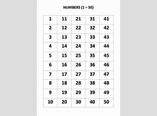 50 Number Chart Printable Activity Shelter