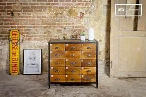 Commode Bois Metal : commode d 39 atelier 12 tiroirs meuble factory pib ~ Teatrodelosmanantiales.com Idées de Décoration