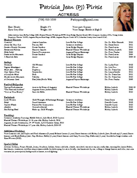 theatre resumes acting resume examples best template collection