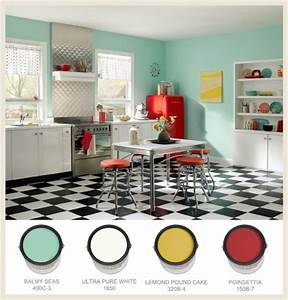 colorfully behr 50s nostalgia With kitchen colors with white cabinets with birds in flight wall art