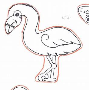 Flamingo Drawing Template