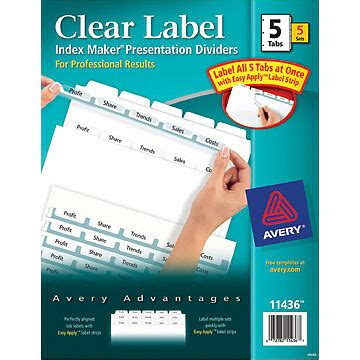avery 11436 maker clear label dividers 2 ebay