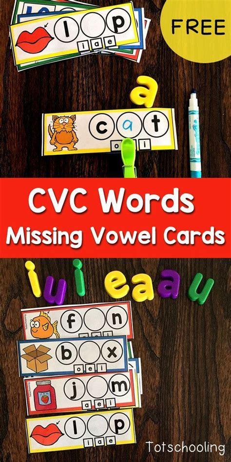 cvc missing vowel cards  images cvc words