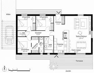 Plan Maison 1 Chambre 1 Salon : plan maison 100 m avec 3 chambres ooreka ~ Premium-room.com Idées de Décoration