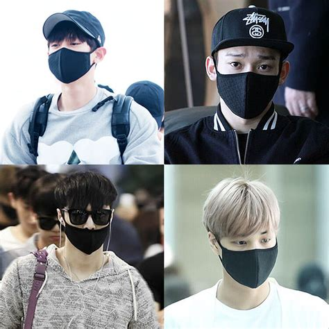 exo chanyeol chen lay kai black kpop mouth mask face mask
