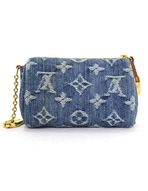 louis vuitton monogram denim speedy bb coin key purse  sale  stdibs