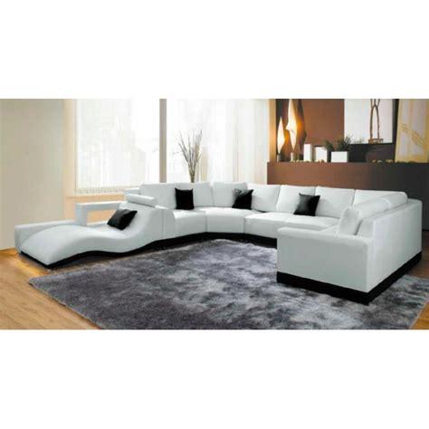 canapé panoramique cuir pas cher canap 233 panoramique cuir blanc avec m 233 ridienne achat