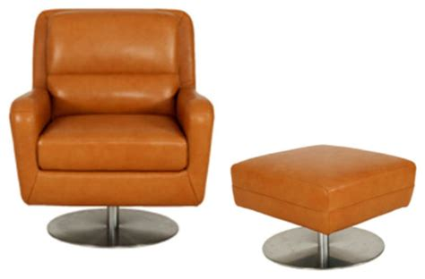 modern accent chair and ottoman moroni swan leather swivel chair with ottoman set in