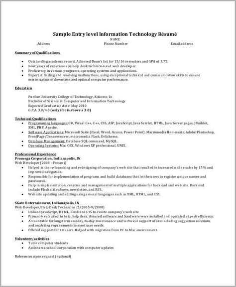 It Professional Resume by It Resume Sle 16 Exles In Word Pdf